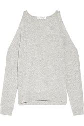 Elizabeth And James Rae Cutout Stretch Knit Sweater Light Gray