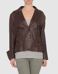 Roberta Scarpa Leather Outerwear Cocoa