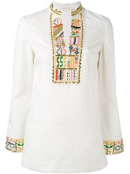Tory Burch Mandarin Neck Blouse Women Cotton Linen Flax Polyester 8 White