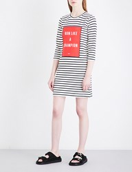 Moandco. Text Print Striped Knitted Mini Dress Black And White