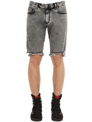 Represent Cotton Blend Denim Shorts Grey