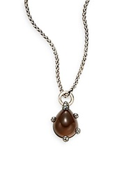 Pomellato 67 Smoky Quartz Marcasite And Sterling Silver Teardrop Pendant