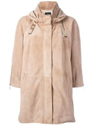 Arma Hooded Leather Jacket Nude Neutrals