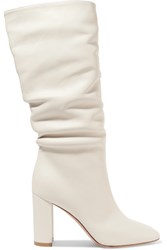 Gianvito Rossi Laura 85 Leather Knee Boots White