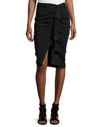Veronica Beard Drew Stretch Jersey Cascading Ruffle Pencil Skirt Black