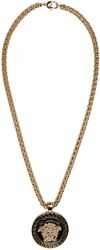 Versace Gold And Black Medusa Chain Necklace