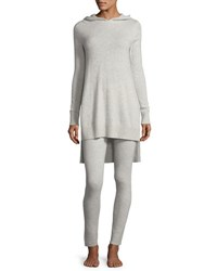 Neiman Marcus Cashmere Hoodie And Ribbed Legging Lounge Set Pearl Grey