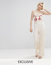 Hope And Ivy Embroidered Jumpsuit With Strappy Back Cream