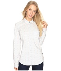 Columbia Super Harborside Woven Long Sleeve Shirt Cirrus Grey Dot Gingham Tiki Pink Women's Long Sleeve Button Up White