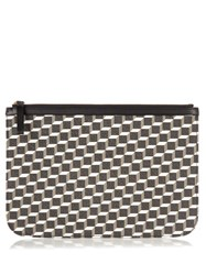Pierre Hardy Cube Print Coated Canvas Pouch Black White