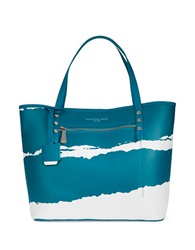 Kenneth Cole Dover Street Leather Tote Bag Aegean White