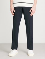 Sandro Slim Fit Tapered Stretch Wool Trousers Navy Blue