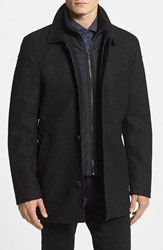 Vince Camuto Men's Melton Car Coat With Removable Bib