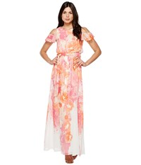 Vince Camuto Printed Chiffon Maxi With Ruffle Bodice Ivory Coral Women's Dress Red