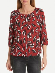 Betty Barclay And Co. Floral Print Blouse Dark Red White