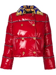 Versace Cropped Puffer Jacket Red