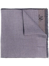 Canali Check Patterned Scarf Blue