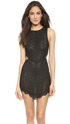 Free People Scalloped Lace Midnight Hour Slip Black
