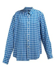 Martine Rose Wonky Checked Shirt Blue