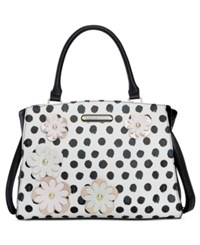Betsey Johnson Floral Satchel Only At Macy's White Black Dot