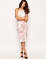 Asos Occasion High Neck Pencil Dress In Pretty Floral Print Multi