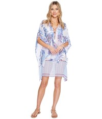 Tommy Bahama Paisley Leaves Lace Up Tunic Cover Up White Women's Swimwear