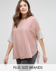 Junarose T Shirt With Contrast Sleeves Pink