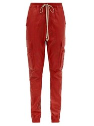 Rick Owens Drawstring Bonded Leather Trousers Red
