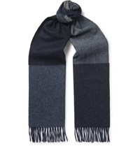 Begg And Co Vigo Fringed Colour Block Wool Cashmere Blend Scarf Blue