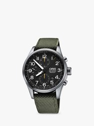 Oris Big Crown Pro Pilot 774 7699 4134 0752 'S Textile Strap Watch Olive