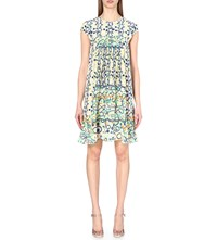 Peter Pilotto Digital Print Silk Mini Dress Lime