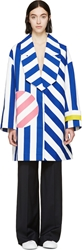 Jacquemus Blue And White Striped Oversized Coat