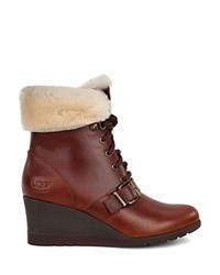 Ugg Janney Leather And Sheepskin Lace Up Wedge Booties Stout
