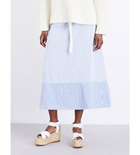 Pringle Of Scotland Stripe Print Woven Skirt Oxford Blue