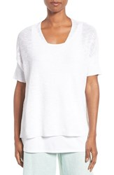 Eileen Fisher Women's Slubbed Organic Linen And Cotton Top White