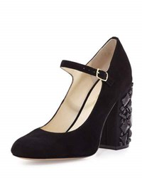 Bettye Muller Brilliant Rhinestone Heel Suede Mary Jane Black
