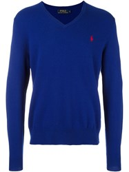 Polo Ralph Lauren Embroidered Logo Jumper Blue