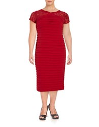 London Times Plus Space Tucked Mesh Sleeve Dress Red