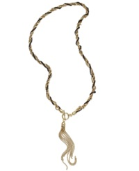 Bar Iii Gold Tone Twisted Tassel And Bead Chain Necklace