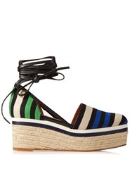 Lanvin Striped Canvas Espadrille Wedge Sandals Blue Stripe