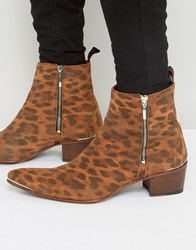 Jeffery West Sylvian Leopard Zip Boots Tan