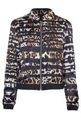 James Lakeland Leopard Zip Bomber Jacket Black