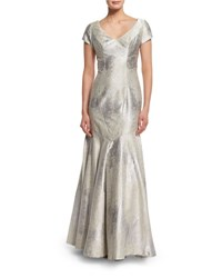 Theia Cap Sleeve Sateen Mermaid Gown Oyster