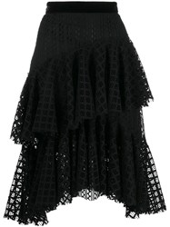 Philosophy Di Lorenzo Serafini Tiered Lace Midi Skirt Black
