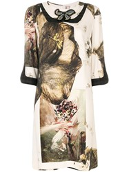 Antonio Marras Butterfly Printed Dress Polyester Spandex Elastane Cupro Wool Nude Neutrals