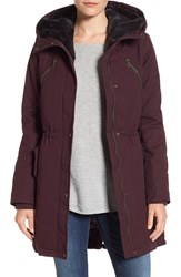 Vince Camuto Women's Cotton Canvas Anorak With Faux Fur Trim Hood Wine