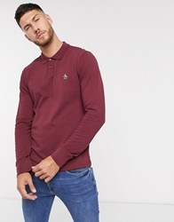 Original Penguin Icon Logo Long Sleeve Pique Polo In Burgundy Red