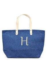 Cathy's Concepts 'Nantucket' Personalized Jute Tote Blue Blue H