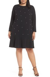 Eci Plus Size Pearly Bead Shift Dress Black