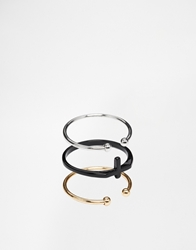 Asos Ring Pack With Open Front And Cross Multi